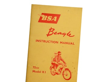 BSA Beagle manual - vintage original BSA Beagle instruction manual 1964 75cc K1