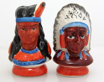 Mid Century Native American Salt Pepper Shakers - Made in Occupied Japan ~ Indian Chief and Wife ~ 50s Kitsch