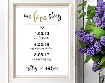 Our Love Story Sign | Our Love Story | Wedding Signs | Wedding Gifts | Anniversary Gifts | Gold Foil Print | Our Love Story Sign Printable