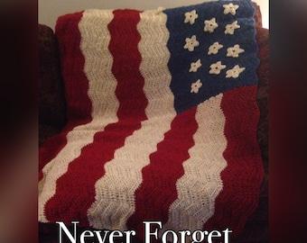 American Flag Crocheted Patriotic Blanket Afghan