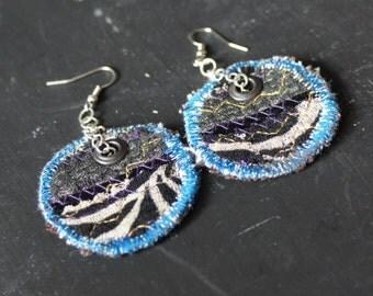 Handmade One of a Kind earrings created using scrap fabric.