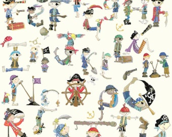 "Counted Cross Stitch Pattern embroidery, needlepoint, needlecraft needlework - alphabet pirates - 23.64"" x 32.36"" - L1016"