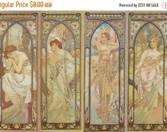 "ON SALE Counted Cross Stitch Pattern chart pdf file - Four season by Mucha - 27.57"" x 18.93"" - L823"