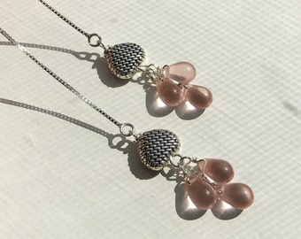 Sterling Silver Threader Earrings/ sterling silver chain handmade with Pink Champagne Czech Glass Beads