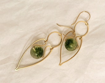 SALE-Green Phantom Crystals dangling earrings handmade with hammered gold wire