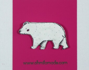 Happy Strolling Polar Bear Brooch Pin