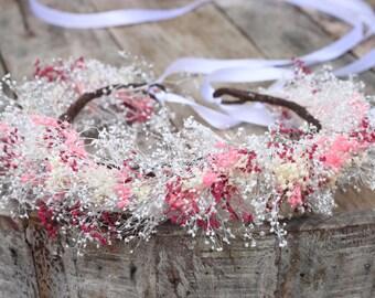 Rustic Wedding Floral Crown, Dried Flowers Wreath, Baby's Breath Crown, Flower Girl