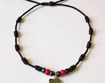 Very Nice Black Knots Bracelet with Hematite Heart