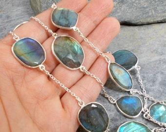 "Cut Fire Labradorite and 925 Silver Necklace 27"""