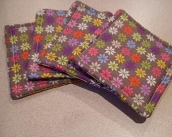 Set of 4 Coasters FUNKY flowers