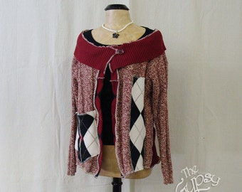 "Argyle Cardian Sweater Upcycled/Recycled/Revamped Sweater Size M-L ""Festena"" by the Gypsy Fae"