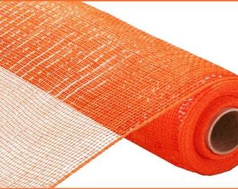 "21""X10yd Orange W/Orange Foil Metallic Deco Mesh/ Halloween/Deco Mesh Supplies/RE900120"
