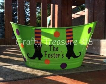 Personalized Halloween Witch bucket, basket, candy basket, candy holder, Halloween Storage Decor