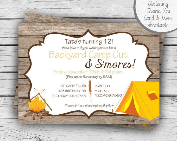 CAMP OUT BIRTHDAY Invitation, S'mores Party, Girl Birthday, Boy Birthday, Party, Printable Stationery, Digital