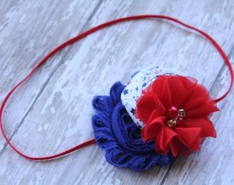4th of July rolled rosette shabby headband-red, white, & blue headband-Patriotic headband