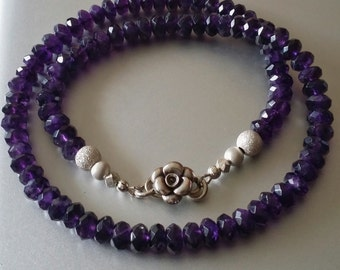 Amethyst NECKLACE with Sterling Silver Beads and Rose Clasp