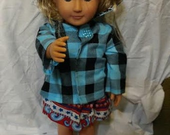 Blue Checkered Doll Jacket