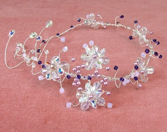 Long crystal and pearl hair vine, Purple and crystal bridal headdress, pink pearl side tiara for long hair, sparkle bridal headdress
