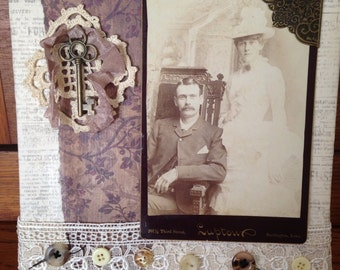 "All Dressed Up- an antique cabinet card of lovely couple on an 8x8"" altered canvas with embellishments"