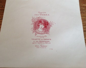 Vintage French Soap Label -  Paul Tranoy - Savon des Bebes