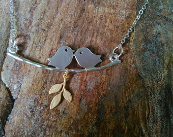 """Silver plated """"lovebirds on a branch with leaves"""" necklace"""
