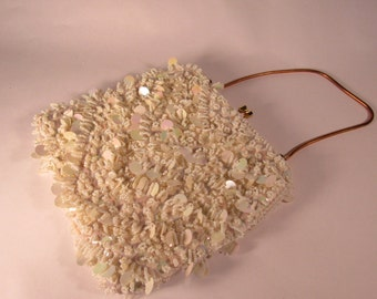 BEAUTIFUL Vintage  Mid Century  Heavily Beaded White Iridescent  Evening Hand Bag Purse with Gold Metal Handle and Frame.