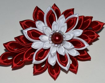 Handmade Girl's/Ladies French Barrette Hair Clip, Kanzashi, Burgundy/White
