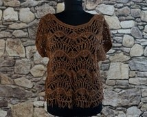 Brown crochet cropped tank, sheer sleeveless boho beach blouse, swimwear cover top, summer hippie 70s macrame style, teen vintage fashion
