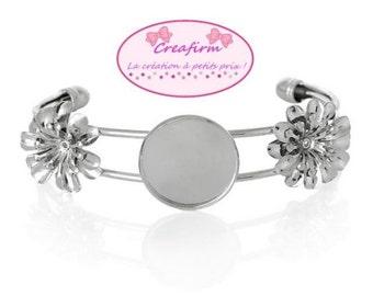 2 silver bracelets 2 flowers cabochon 20mm
