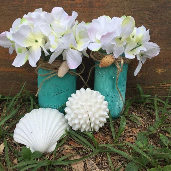 Beach Wedding Ideas Mason Jars: Beach Painted Mason Jars Teal Beach Wedding Decor By