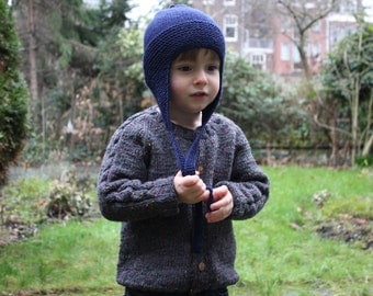 Hand Knitted Pure Merino Wool Baby, Toddler & Kids Winter Hat in Navy Blue - More Colors