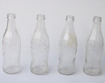 Vintage Clear Glass Coca Cola Bottles Set of 4