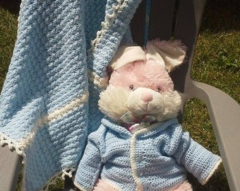 Blue and White Baby Afghan with Hooded Sweater