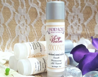 COCONUT ~ Lip Balm , Natural ingredients with Almond oil, Coconut oil, Shea Butter