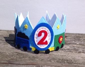 Train Birthday Crown, Boys Birthday Crown, Boys Train Birthday Crown, Felt Train Birthday Crown, Boys Felt Birthday Crown, Felt Crown