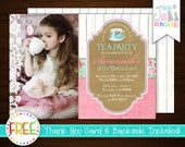 Tea Party Invitation, Tea Party Birthday, Vintage, Retro, Chic, Wood Grain, Classic, Princess, Pink, Photo Invite +FREE Thank You Card!