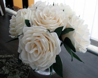 "6 medium giant 7 1/16"" ivory paper roses, Giant paper flower, Wedding bouquet, Crepe paper flower, Wedding table flower, Home decor"