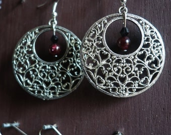 Earrings silver, Garnet stone
