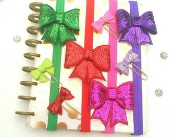 Sequin Planner Book Bands  Erin Condren Happy Planner Accessories red purple green fuschia