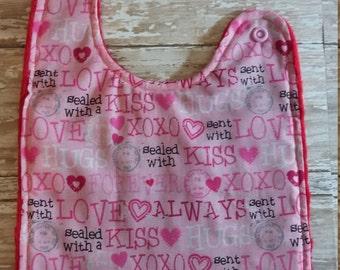Baby Bib- Valentine Words, Valentine's Day Bib, 1st Valentines Bib, Baby Bibs, Minky Baby Bib, Personalized Baby Bib, Baby Boy or Baby Girl