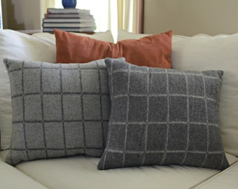 Reversible Dark Grey and Light Grey Pillow