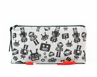 Robot pencil case, Boys pencil case, Small pouch, Science fiction, Kids pouch, Gadget pouch, Boys gift, School supplies, Robots, Geek bag
