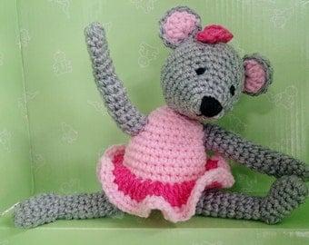 Amigurumi Mouse Ballerina Doll Stuffed Crocheted Animal Toy