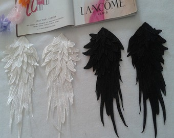 3D Layer 7 Venice Lace Collar Appliques Black Angel Wings Emboridery Collars 1 pair YL296