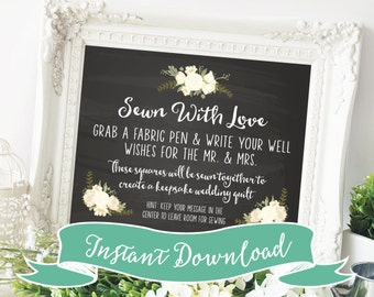 DIY PRINTABLE 8 x 10 Sewn With Love Wedding Quilt Guestbook Sign for Guest Quilt. Keepsake wedding quilt. Unique Wedding Guestbook Ideas.