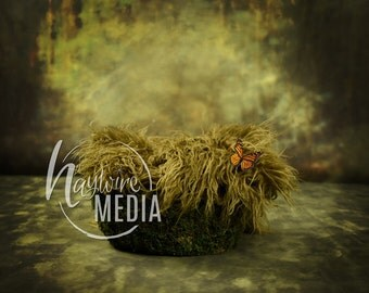 Newborn Baby Toddler Child Grass Moss Bed Basket - Portrait Digital Backdrop - Photography Background - Basket Photo Prop - JPG