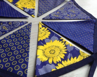Sunflower Bunting, Autumn Wedding decor, Blue and Gold, contemporary flower bunting, gift for her, home decor, new home gift, fabric garland