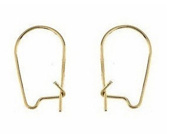 1 Pair 14K Yellow Gold or 14K White Gold Kidney Earwire