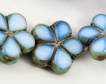 Czech Sky Blue White Mix Flower Light Picasso Glaze Czech 17mm Table Cut Opaque Glass 5 Petal Posey 6 Beads PTC17PO002