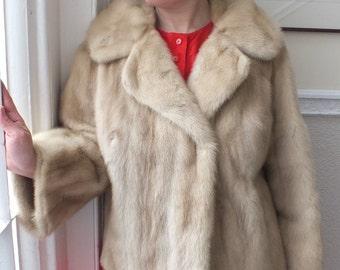 Sale! Vintage 1960s Style Womens Beige Real Mink Fur Coat